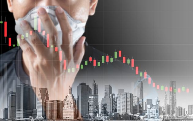 Concept of economic recession during the coronavirus crisis, downtrend stock and man with mask