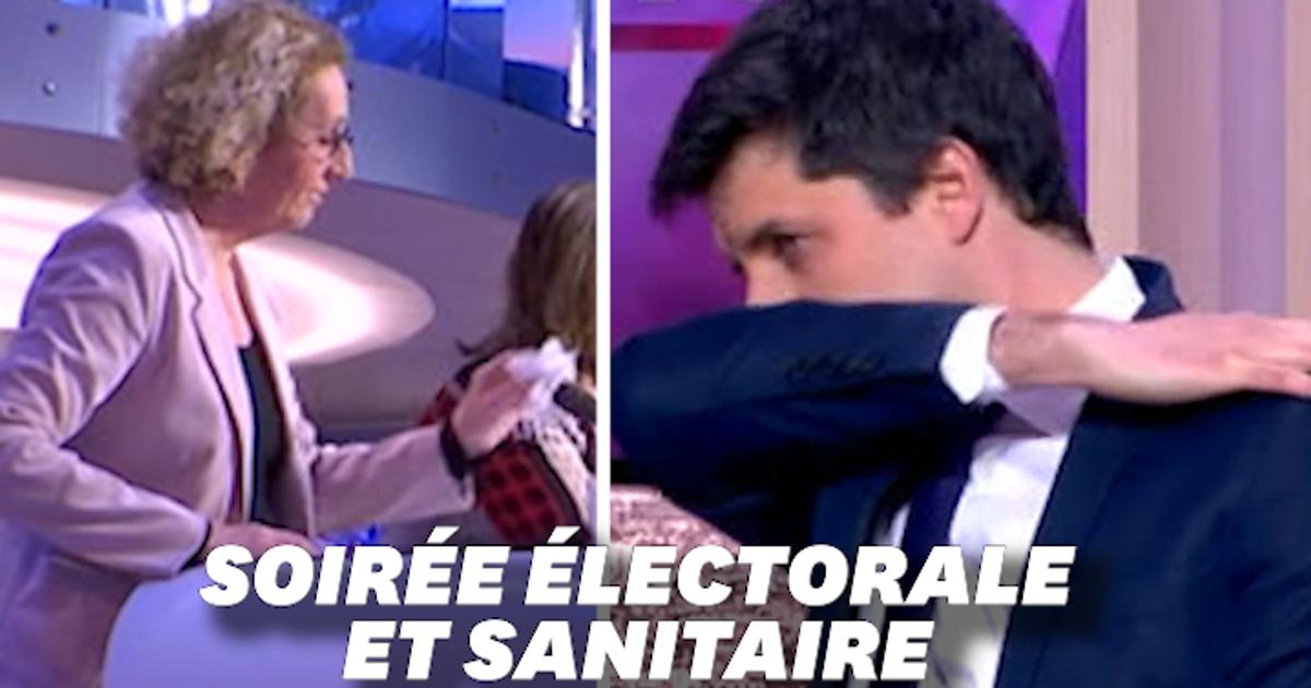 Distance, désinfection... Les images de l'étrange soirée électorale sur les plateaux télé