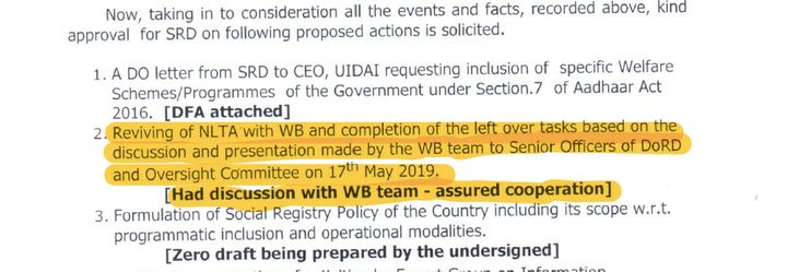 The World Bank has 'assured cooperation', according to a file noting dated June 17, 2019.
