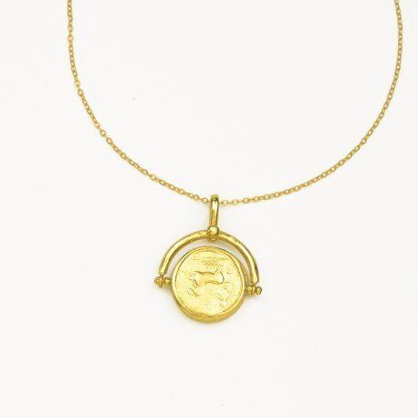 Pegasus Coin Spinner Necklace with Mother of Pearl, Ottoman Hands, £63