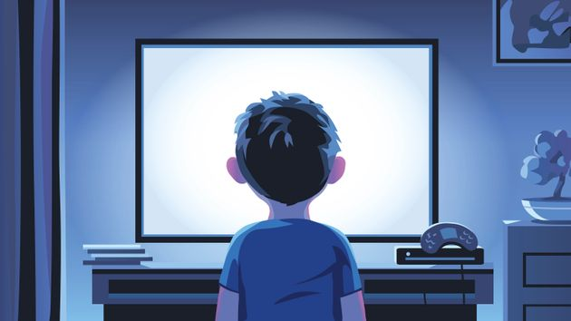 Vector illustration of a boy standing in front of a television set in a living room late at night. Concept