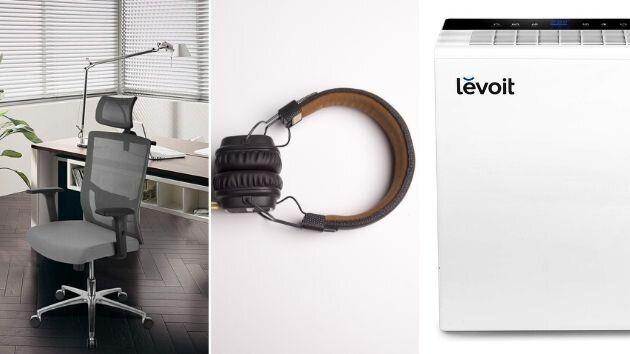 Silla de trabajo, auriculares y purificador de aire en