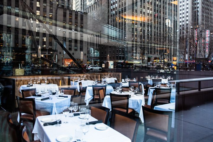 An empty restaurant is seen on March 13, 2020 in New York City.