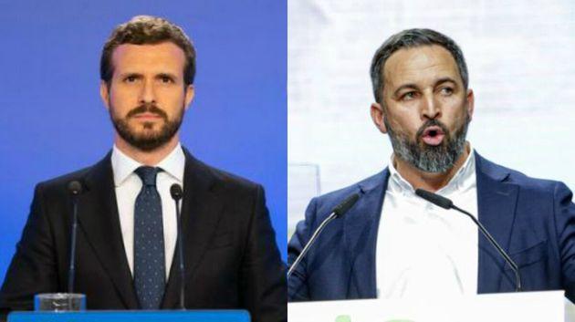 Los líderes del PP y Vox, Pablo Casado y Santiago