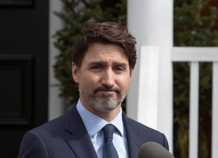 Justin Trudeau lors de sa conférence de presse du 13 mars.