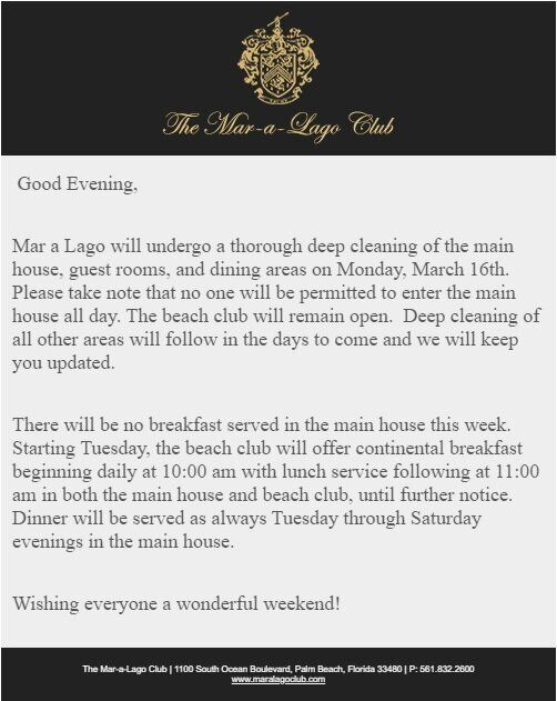 """An email from President Donald Trump's for-profit Mar-a-Lago Club in Palm Beach, Florida, that details the """"deep cleaning."""""""