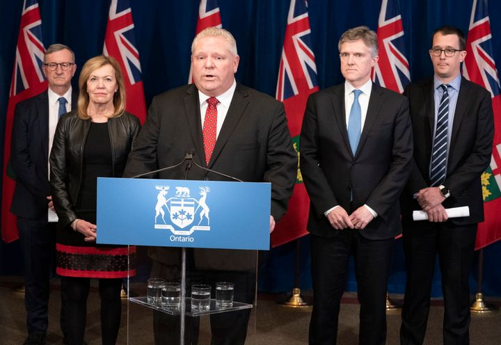 Ontario Premier Doug Ford speaks at a news conference at Queen's Park in Toronto on March 16, 2020.