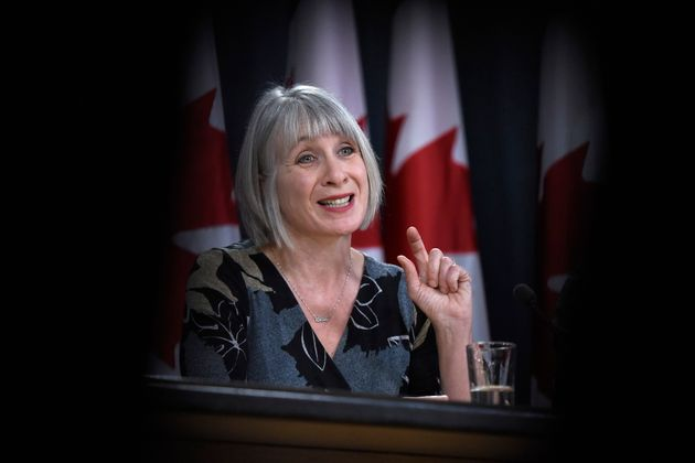 Health Minister Patty Hajdu speaks during a press conference on COVID-19 at the National Press Theatre...
