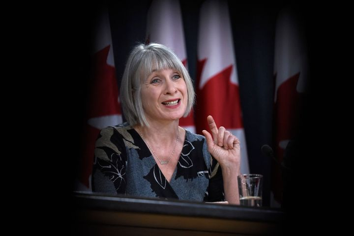 Health Minister Patty Hajdu speaks during a press conference on COVID-19 at the National Press Theatre in Ottawa on March 16, 2020.