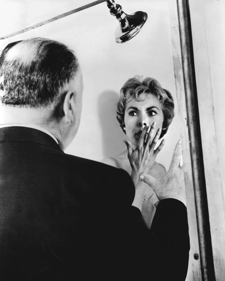 "Alfred Hitchcock and Janet Leigh on the set of ""Psycho."""