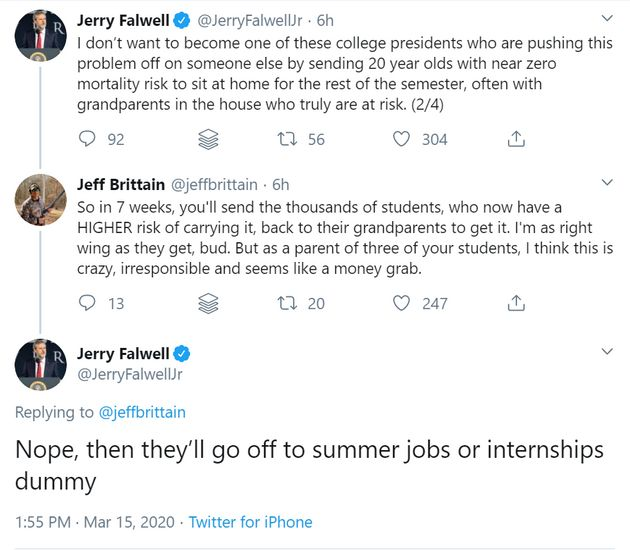 Jerry Falwell Jr.'s Twitter conversation with a man claiming to be a parent of Liberty University students...