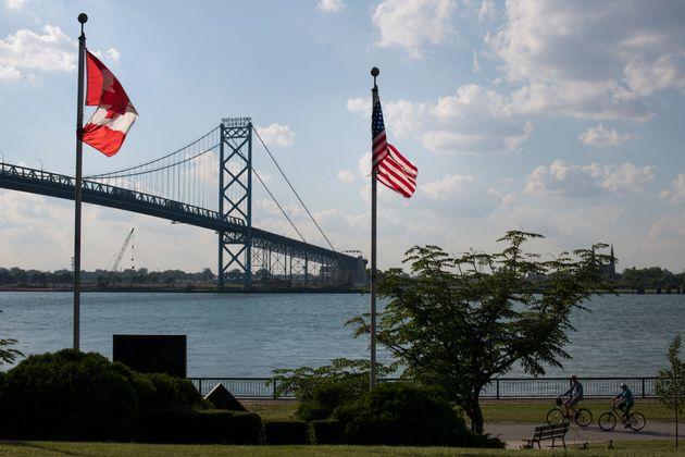 The Ambassador Bridge connecting Windsor, Ont. to Detroit is seen on June 28,