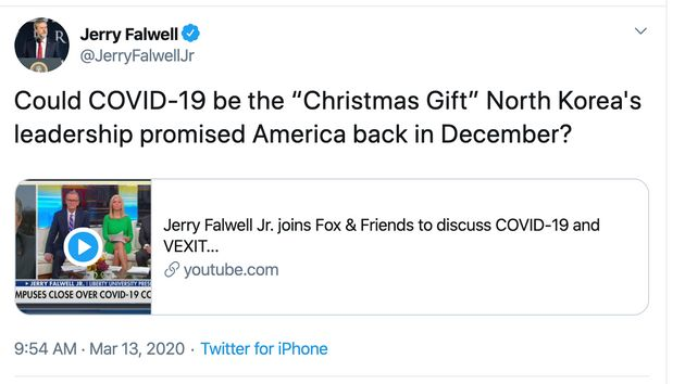 Jerry Falwell Jr. advertises his