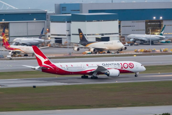 Qantas grounds most international flights. (Photo by May James/SOPA Images/LightRocket via Getty Images)