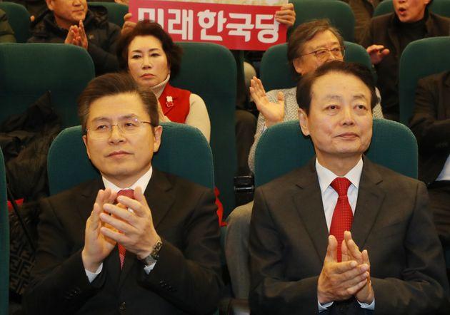 황교안 미래통합당 대표와 한선규 미래한국당
