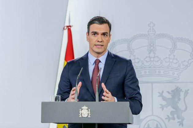 El presidente Pedro Sánchez, durante una rueda de
