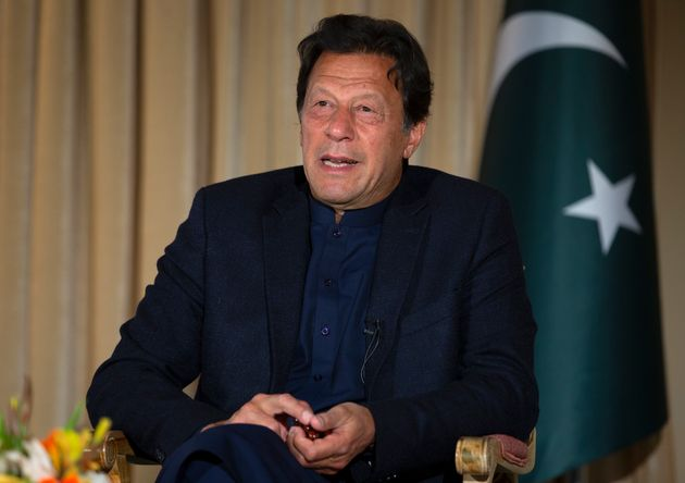 Pakistan's Prime Minister Imran Khan speaks to The Associated Press, in Islamabad, Pakistan, Monday,...