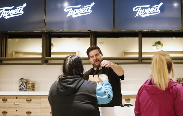 An employee packages product for a customer at the Tweed store in Portage la Prairie, Man on April 26,...
