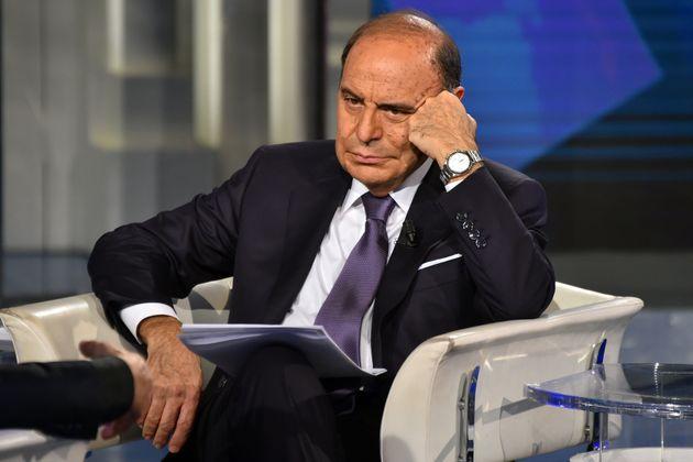 ROME, ITALY - DECEMBER 17: Italian conductor Bruno Vespa during tv broadcast Porta a Porta in the Rai...