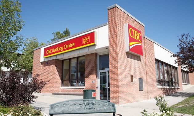 In this stock photo, a CIBC branch is seen in Rocky Mountain House, Alta., Aug. 17, 2012. Canadian banks...