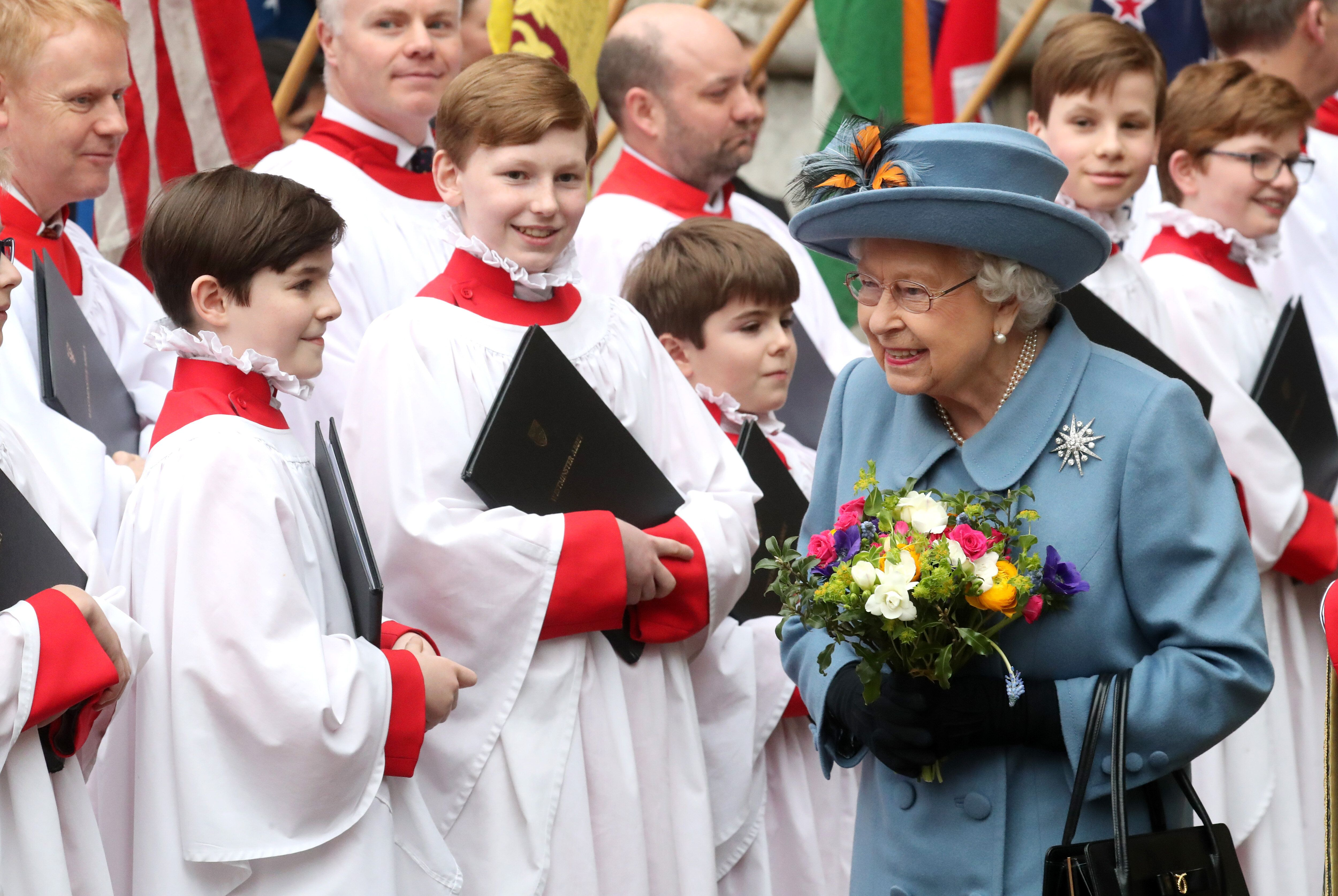 Queen Elizabeth II departs the Commonwealth Day Service 2020 at Westminster Abbey on March 9 in London.