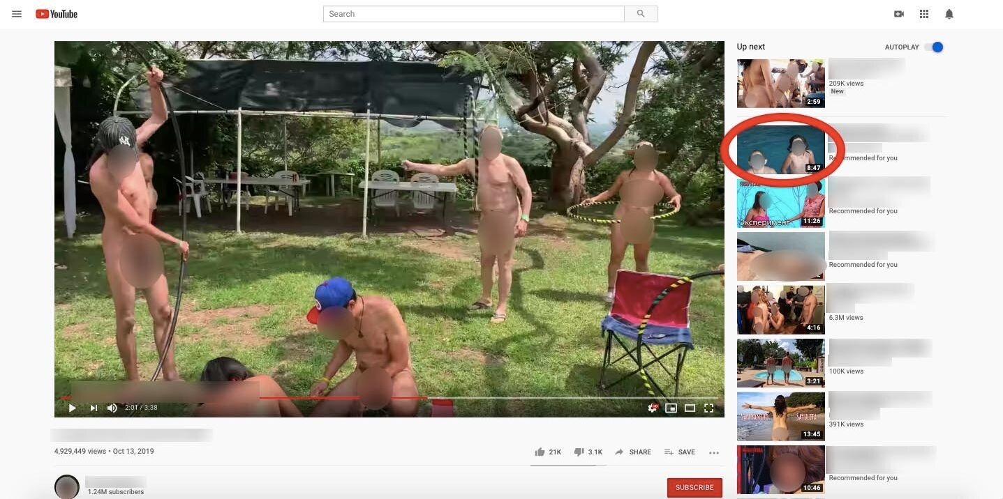 Searching YouTube for clips featuring adult nudity quickly led down a rabbit hole of algorithmically recommended videos showi
