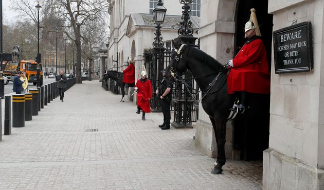 Horse Guards, one of London's top tourist attractions is virtually empty after the coronavirus outbreak...