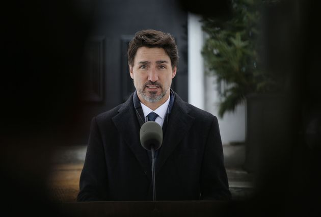 Prime Minister Justin Trudeau speaks during a news conference on COVID-19 situation in Canada from his...