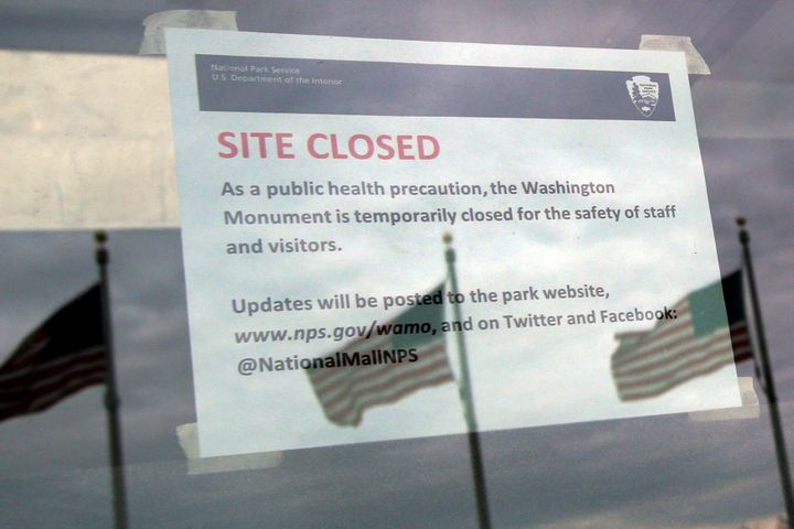 A closure note due to coronavirus disease (COVID-19) is seen at the entrance to the Washington Monument in Washington, U.S.,