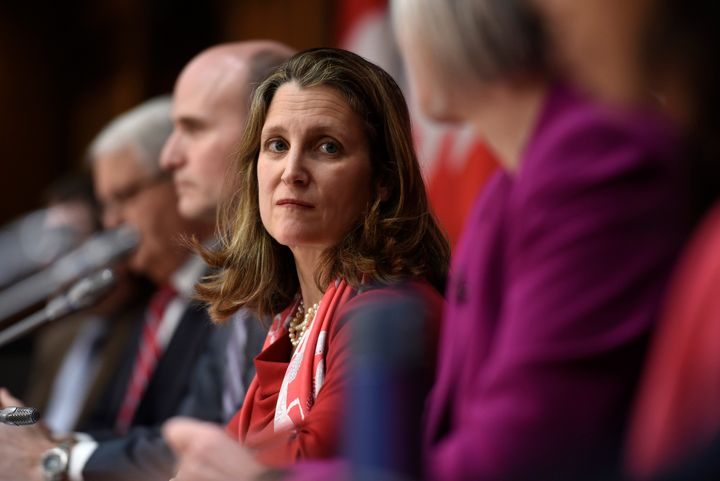 Deputy Prime Minister Chrystia Freeland participates in a press conference about COVID-19 in West Block on Parliament Hill in Ottawa on March 17, 2020.