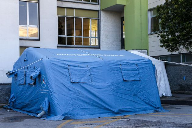 Outdoors tents set up for screening patients suspected of showing new coronavirus symptoms, the first...