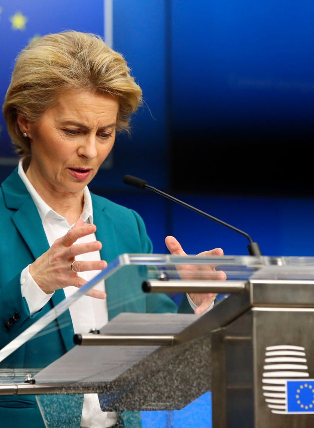 European Commission President Ursula von der Leyen addresses the media after a video-conference with...
