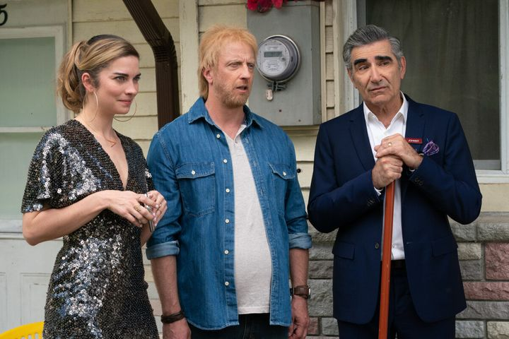 "Annie Murphy, Chris Elliott and Eugene Levy in ""Schitt's Creek."""