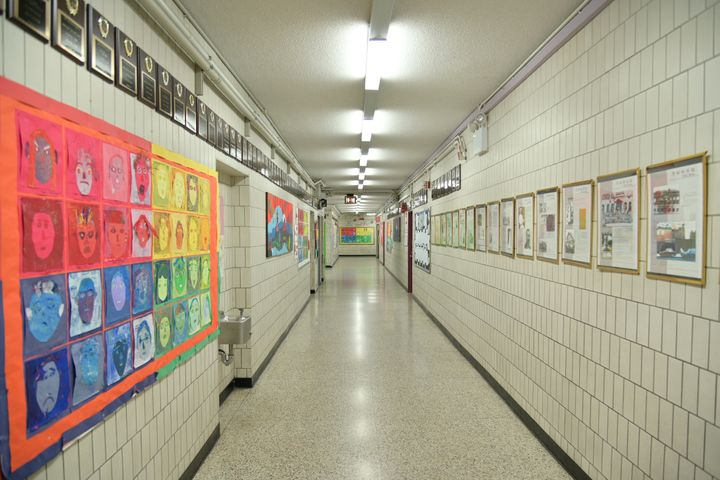 An empty hallway at Yung Wing School P.S. 124 in the Manhattan borough of New York City. Public schools in New York City have