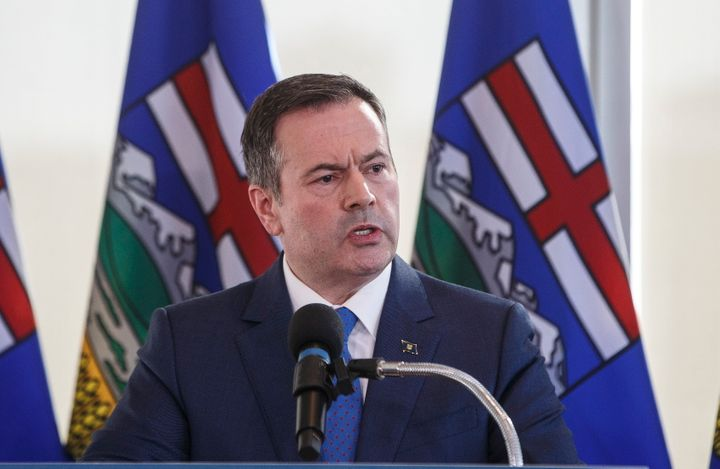 Alberta Premier Jason Kenney speaks during a press conference in Edmonton on Feb. 24, 2020.