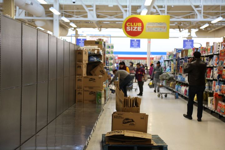 VANCOUVER, BC - MARCH 12 : Paper towel and toilet paper shelves emptied by panic buyers are seen at Real Canadian SuperStore during the Coronavirus outbreak in Vancouver, Canada on March 12, 2020. (Photo by Mert Alper Dervis/Anadolu Agency via Getty Images)