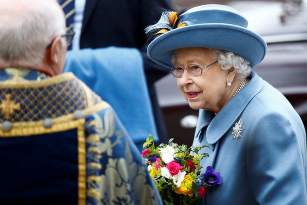 Britain's Queen Elizabeth II leaves after the annual Commonwealth Service at Westminster Abbey in London,...