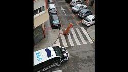 「ティラノサウルスはダメ」外出禁止令のスペイン、警察が着ぐるみの男性を注意(動画)