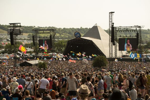 Glastonbury's iconic Pyramid Stage as seen during 2019's