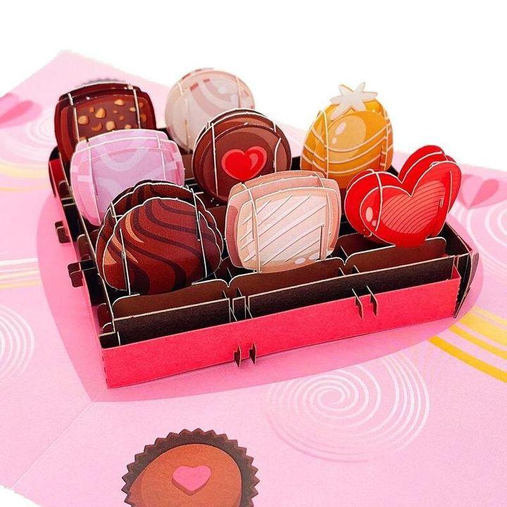 Liif Sweet Chocolate Box 3D Greeting Pop Up Valentine Cards, Etsy, £7.77