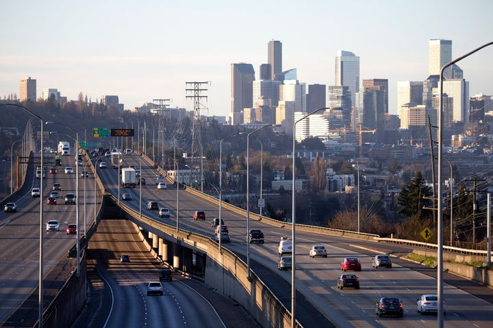 Rush hour traffic is light during the morning commute heading in and out of Seattle on March 15, 2020.