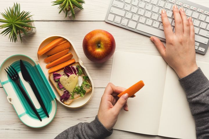 Try not to eat within reach of your desk while working remotely. It's important to take mental breaks and unplug.
