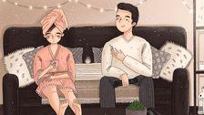 Künstler Zeigt, Der Gemütliche Kleine Momente Des Lebens Mit Ihrem Mann