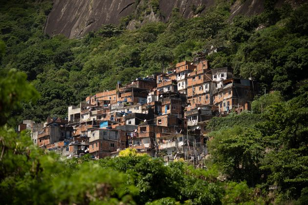 The Rocinha favela stands out from a hillside in Rio de Janeiro, Brazil, on March 16, 2020. Rocinha,...