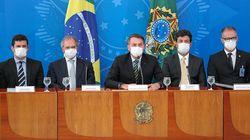 De máscaras, Bolsonaro e ministros lançam medidas de calamidade
