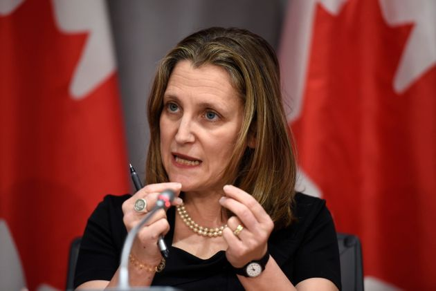 Deputy Prime Minister Chrystia Freeland speaks during a press conference on COVID-19, at West Block on...