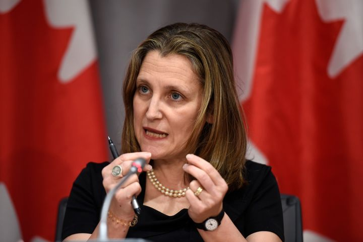 Deputy Prime Minister Chrystia Freeland speaks during a press conference on COVID-19, at West Block on Parliament Hill in Ottawa on March 18, 2020.