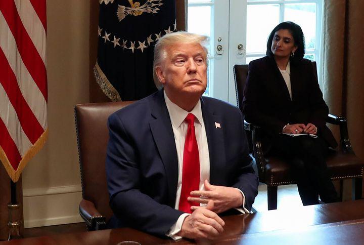 President Donald Trump meets with representatives of nurses organizations to discuss the coronavirus response at the White Ho