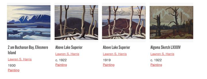 Lawren Harris paintings available to view through the AGO's online collection.