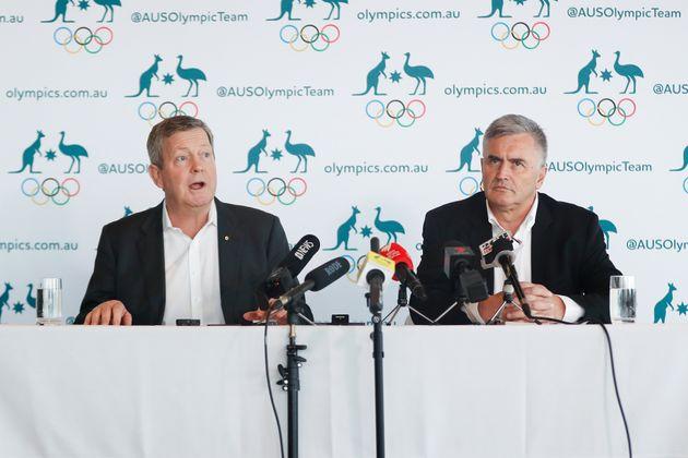 AOC Chief Executive Matt Carroll and Australian Team Chef de Mission for Tokyo 2020 Ian Chesterman speak...